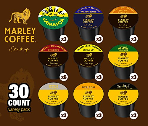 Marley Coffee Get Up Stand Up Organic Light Roast Compatible with Keurig Brewers, 24 Count. Marley Coffee is a gourmet coffee company sourcing beans from around the world; including Central and South America, Africa, Asia-Pacific and Jamaica.